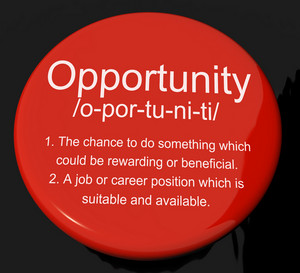 Opportunity Definition Button Showing Chance Possibility Or Career Position