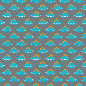 Orange And Aqua Dinosaur Pattern On A Purple Background