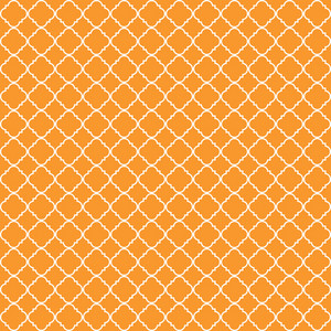 Orange And White Quatrefoil Pattern On Dinosaur Paper