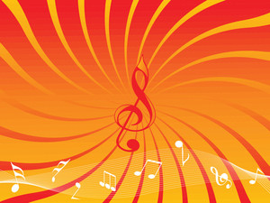Orange Background With Musical Notes And Wave