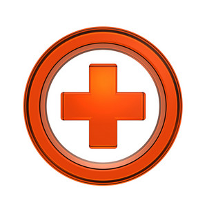 Orange Cross In The Circle Isolated On White