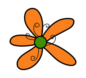 Orange Daisy Drawing