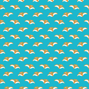 Orange Dinosaur Pattern On An Aqua Background