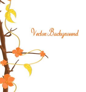 Orange Flowers Vector Branch Holiday Greeting