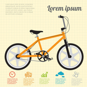 Orange Free-ride Bicycle. Vector Template.