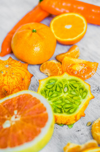 Orange Fruits On Rustic Background