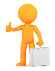 Orange Guy With Shopping Bag