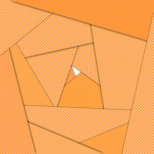 Orange origami maze abstract background