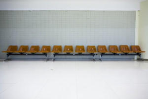 Orange public chairs in airport