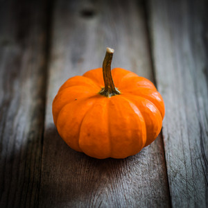 Orange Pumpkin On Rustic Wooden Background