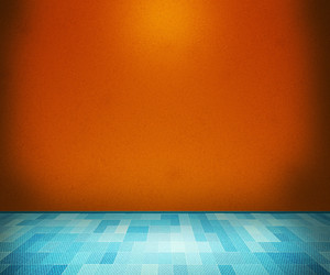 Orange Room With Blue Floor