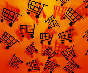 Orange Shopping Cart Background