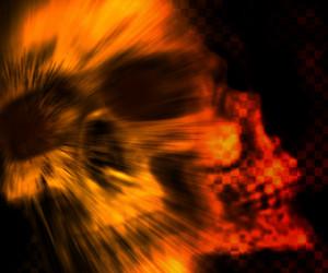 Orange Skull Scary Background