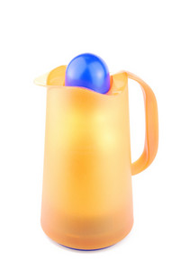 Orange Thermos Coffee/tea Cup On White