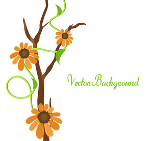 Orange Vector Flowers Banner Design