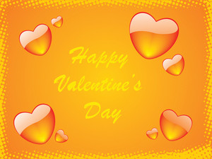 Orange Vector Frame Of Hearts Theme