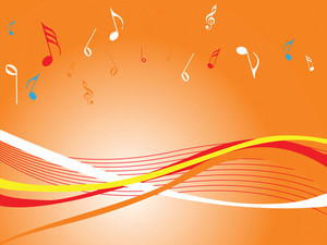 Orange Wallpaper Of Musical Waves With Notes