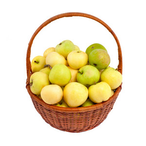 Organic apples in a basket isolated on white background