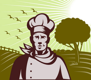 Organic Baker Chef Or Cook With Farm In Background