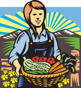 Organic Farmer Farm Produce Harvest Retro