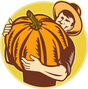 Organic Farmer With Giant Pumpkin