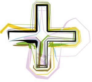 Organic Font Cross Symbol Illustration
