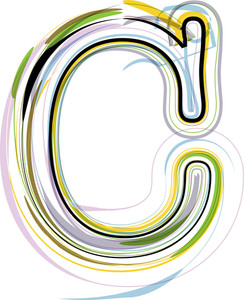 Organic Font Illustration. Letter C