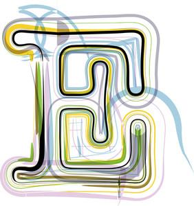 Organic Font Illustration. Letter E