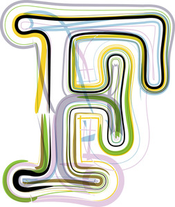 Organic Font Illustration. Letter F