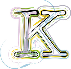 Organic Font Illustration. Letter K
