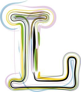 Organic Font Illustration. Letter L
