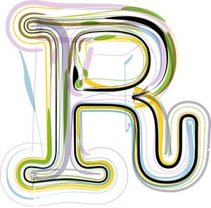 Organic Font Illustration. Letter R