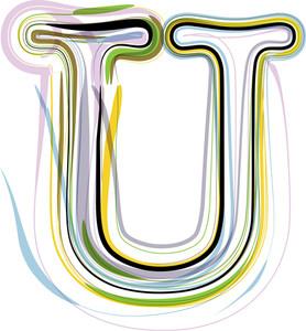 Organic Font Illustration. Letter U