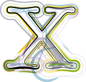 Organic Font Illustration. Letter X