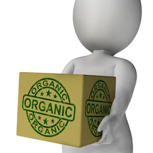 Organic Stamp On Box Showing Natural Farm Eco Food