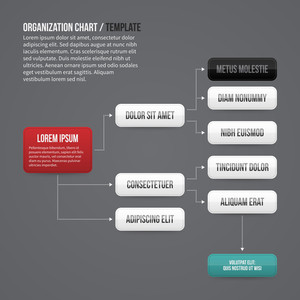 Organization Chart Template With Rectangle Elements. Eps10.