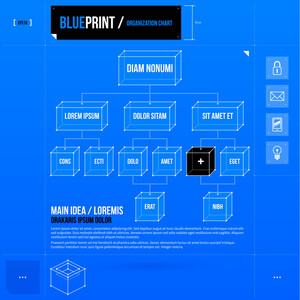 Organization Chart Template With Rectangle Elements In Blueprint Style. Eps10