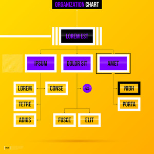 Organization Chart Template With Rectangle Elements On Bright Yellow Background. Eps10