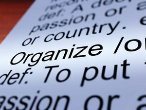Organize Definition Closeup Showing Managing