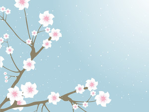 Oriental Branches With Blossoms And Buds