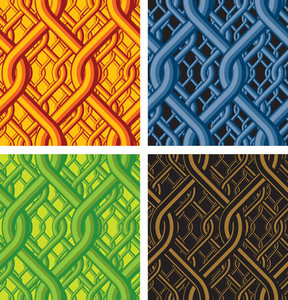 Oriental Seamless Background. Vector Set.