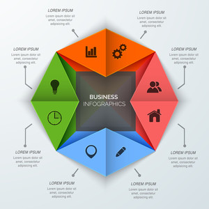 Origami business infographic design with different web icons for professional presentation and reports.