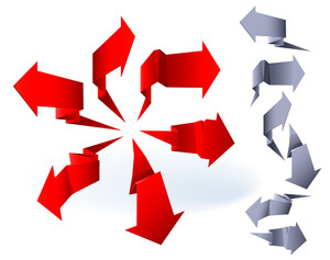 Origami Paper Arrows. Vector.