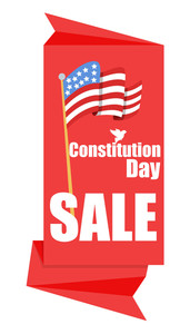 Origami Sale Banner For Constitution Day Vector Illustration