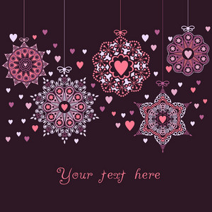 Ornate Christmas Balls Made Of Hearts. Romantic Christmas Ball Illustration.