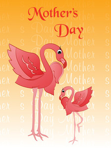 Ostrich With Mother Day Background
