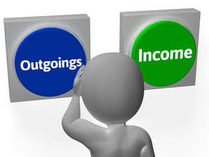 Outgoings Income Buttons Show Budgeting Or Bookkeeping