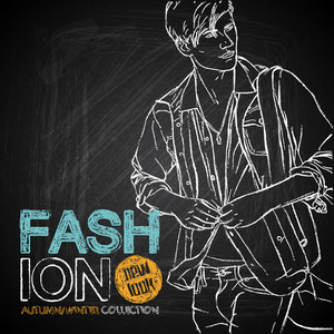 Outline Drawing Of The Stylish Dude On A Board Chalk. Vector Collection.