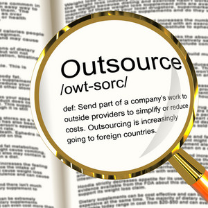 Outsource Definition Magnifier Showing Subcontracting Suppliers And Freelance