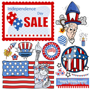 Pack Of 4th Of July Vector Set